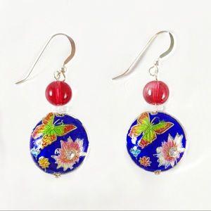 Enamel earrings with sterling ear wires